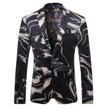 Abstract Printed Breast Pocket Lapel Long Sleeve Men's One-Button Blazer