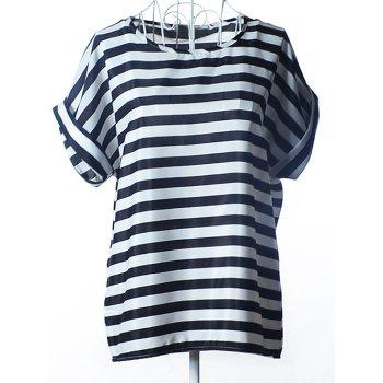 Chic Striped Loose-Fitting Chiffon Women's Blouse