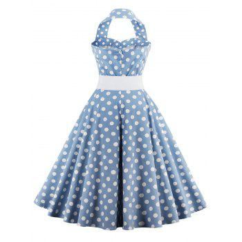 Retro Halter Sweetheart Neck Polka Dot Flare Dress - LIGHT BLUE M