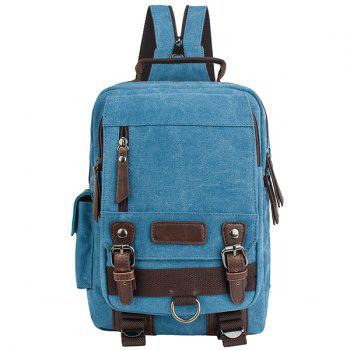 Stylish Canvas and Double Buckle Design Men's Backpack - AZURE AZURE