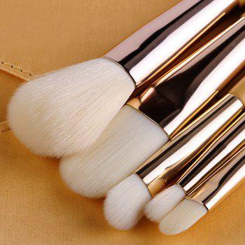 Cosmetic 5 Pcs Artificial Fiber Face Eye Makeup Brushes Set with Storage Package -  GOLDEN