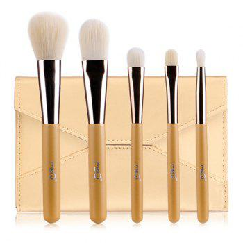 Cosmetic 5 Pcs Artificial Fiber Face Eye Makeup Brushes Set with Storage Package - GOLDEN GOLDEN