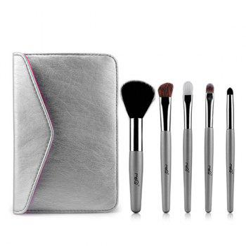 Cosmetic 5 Pcs Goat Hair Horsehair Facial Eye Makeup Brushes Set with Storage Package
