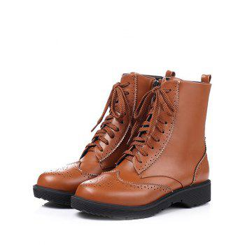 Leisure Tie Up and Engraving Design Women's Short Boots - BROWN 39