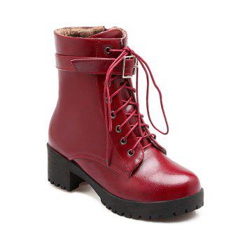 Fashionable Lace-Up and Buckle Design Women's Short Boots