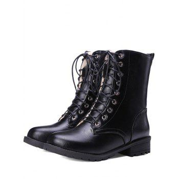 Stylish Black and Lace-Up Design Women's Combat Boots - BLACK 38