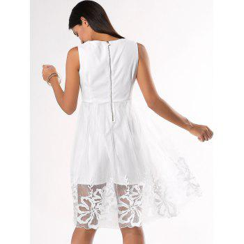 Ladylike Floral Pattern Pure Color Dress - WHITE XL