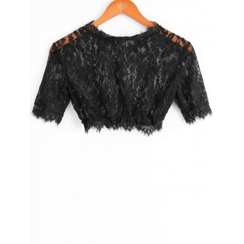 Charming See-Through Cut Out Solid Color Lace Crop Top For Women