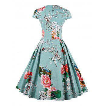 Retro Sweetheart Neck Cap Sleeve Floral Print Flare Dress - LIGHT BLUE 2XL