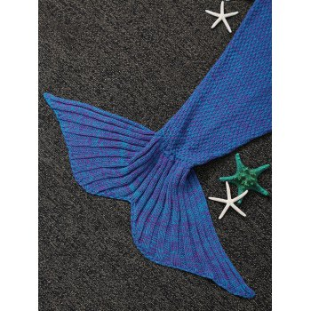 Fashion Knitted Flowers Embellished Mermaid Tail Shape Blanket For Kids - BLUISH VIOLET