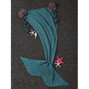 Fashion Knitted Flowers Embellished Mermaid Tail Shape Blanket For Kids - DEEP GREEN