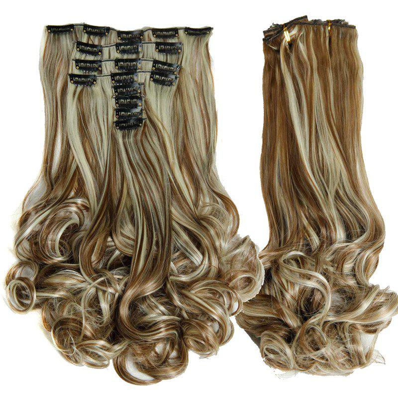Graceful Women's Medium Curly High Temperature Fiber Hair Extension - / Brown Avec Blonde