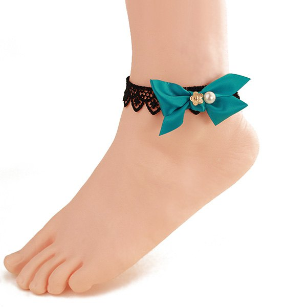 Stylish Black Lace Green Bowknot Embellished Anklet For Women - BLACK/GREEN