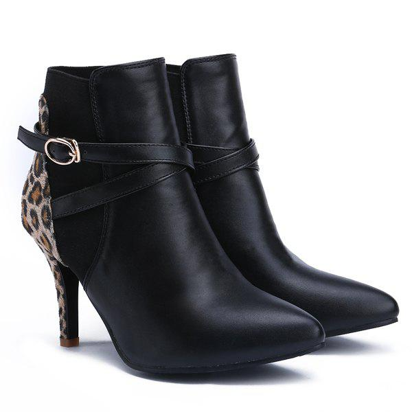 Stylish Black and Pointed Toe Design Women's Ankle Boots - LEOPARD 39