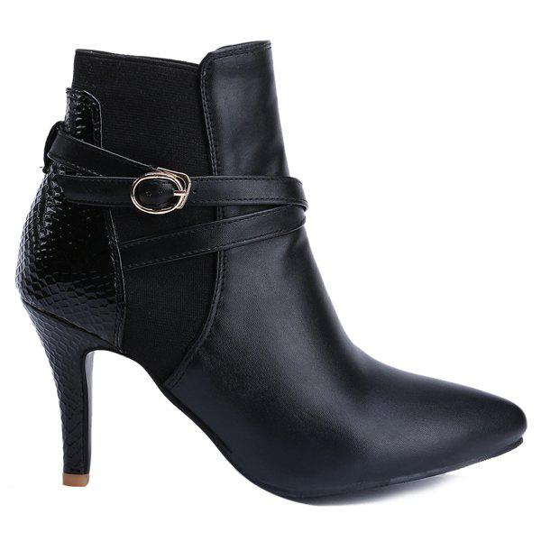 Stylish Black and Pointed Toe Design Women's Ankle Boots