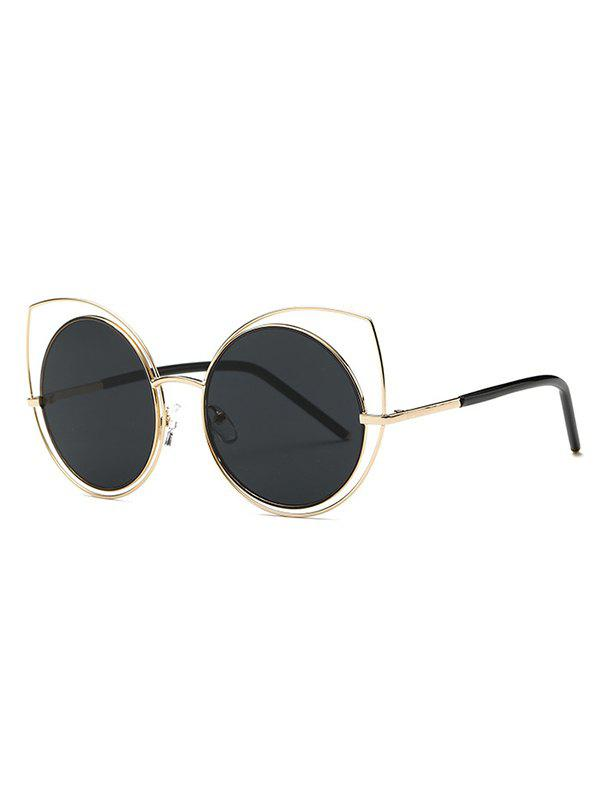 Cute Hollow Out Cat Eye Sunglasses - GOLDEN
