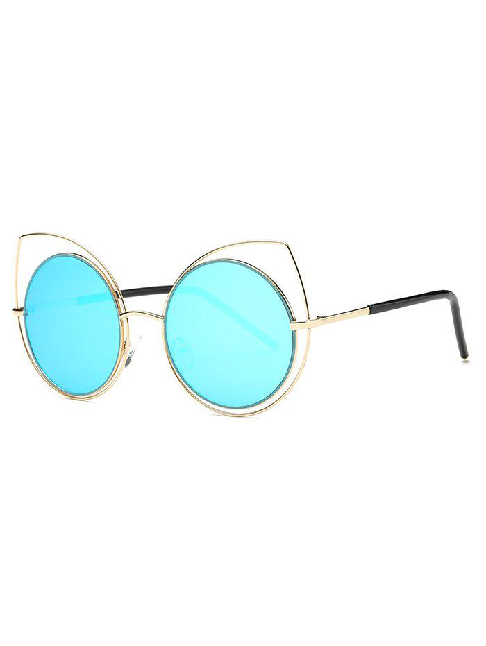 Cute Hollow Out Cat Eye Mirrored SunglassesAccessories<br><br><br>Color: LIGHT BLUE