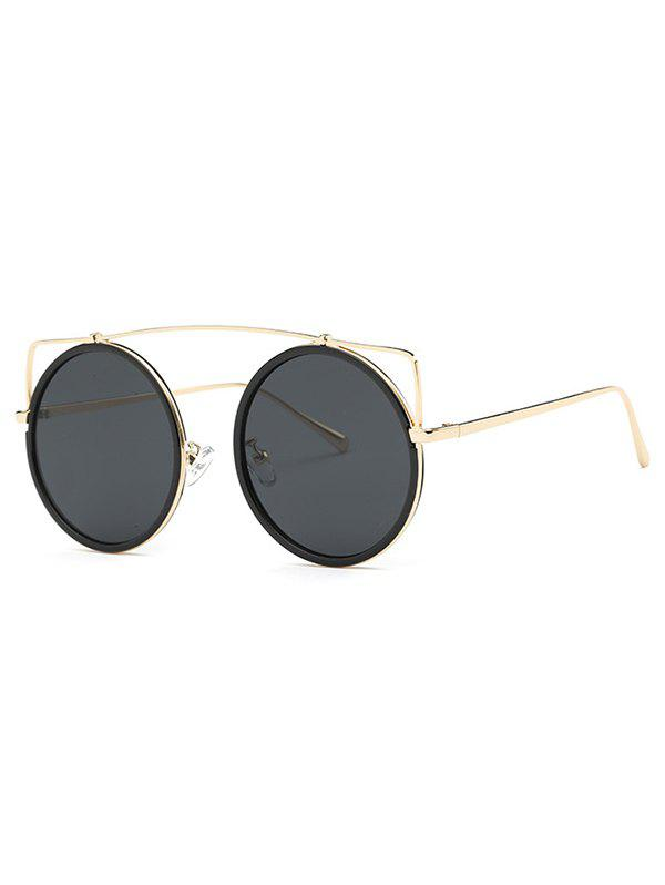 Cute Golden Crossbar Round Sunglasses