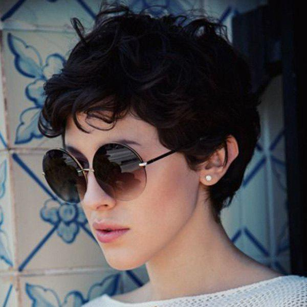 Fashion Pixie Cut Fluffy Curly Short Women's Real Human Hair Wig - JET BLACK