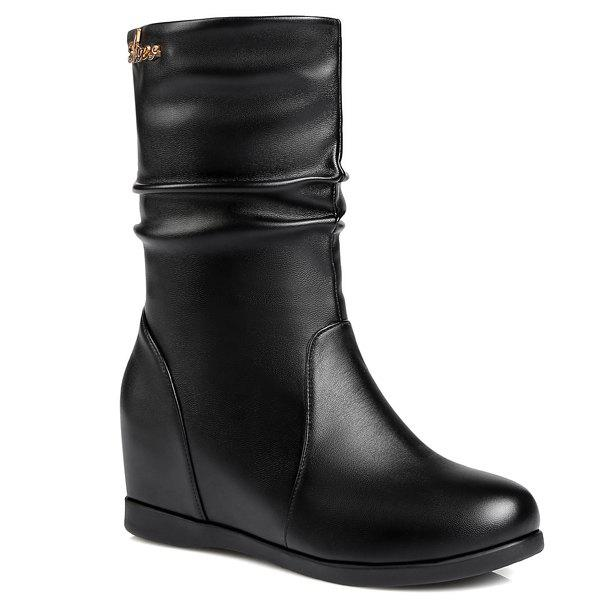 Fashionable Hidden Wedge and Ruched Design Women's Mid-Calf Boots