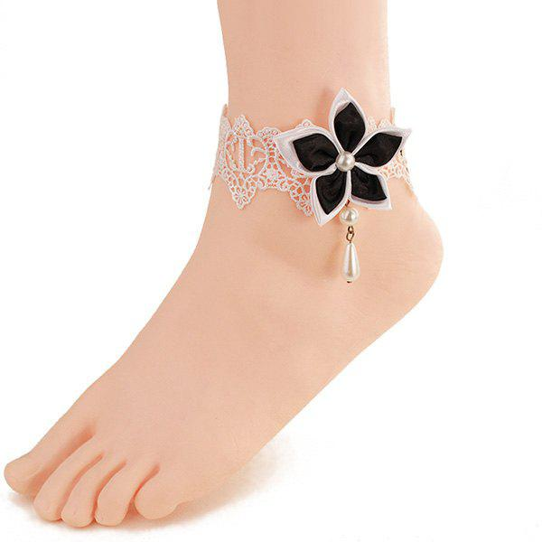 Stylish White Lace Faux Pearl Blossom Anklet For Women