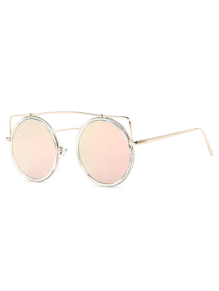 Cute Candy Color Crossbar Round Sunglasses - LIGHT PINK