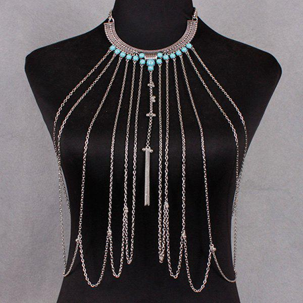 Faux Turquoise Body Chain - SILVER