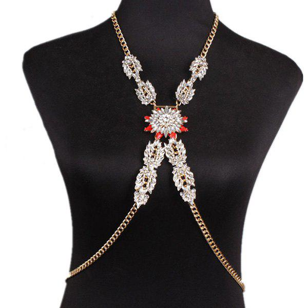 Gorgeous Faux Crystal Adorn Floral Body Chain For Women
