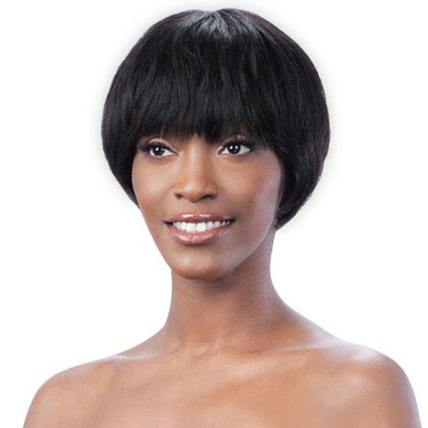 Faddish Women's Short 100 Percent Human Hair Straight Full Bang Capless Wig - JET BLACK
