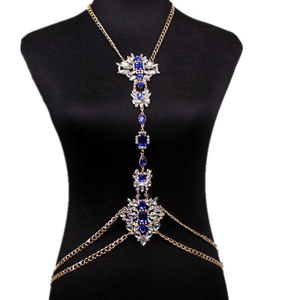 Noble Adorn Rhinestone Water Drop Body Chain For Women -  BLUE