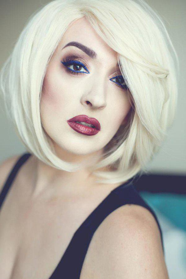 Fluffy Side Bang Straight Fashion Medium Synthetic Stylish Mixed Color Women's Wig - COLORMIX