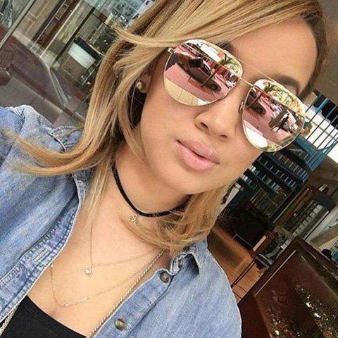 Fashion Cool Summer Two-Tone Match Lenses Hipsters Sunglasses For Unisex Aviator - BLACK