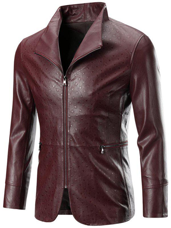Zippered Long Sleeve Men's Embossed Leather Jacket - WINE RED 4XL