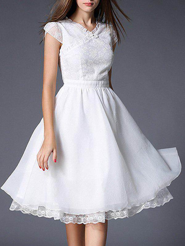 Charming V-Neck White Lace Splicing Women's Dress - WHITE XL