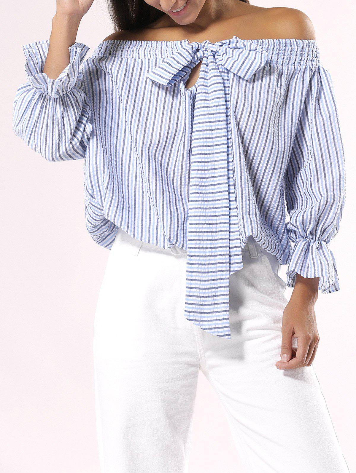 Bowknot Design Striped Off The Shoulder Blouse - LIGHT BLUE L