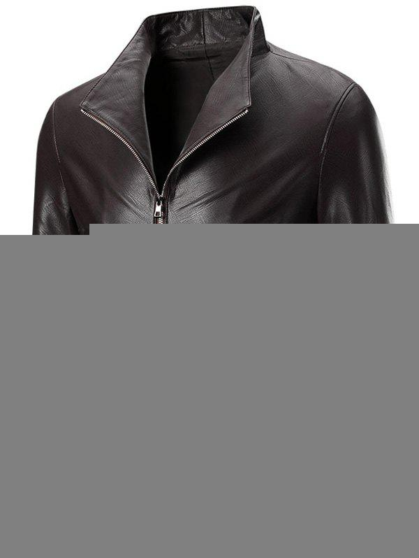 Solid Color Zippered Long Sleeve Men's Faux Leather Jacket - DEEP BROWN 4XL