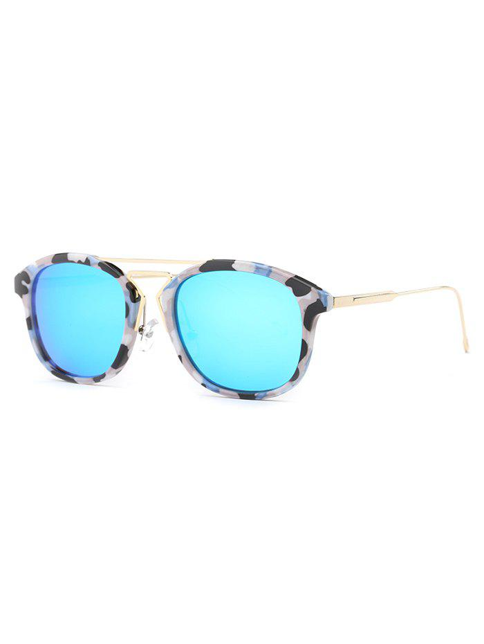 Stylish Geometry Nose Bridge Camouflage Sunglasses - BLUE