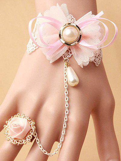 Stylish Bow Lace Bracelet with Rose Ring - PINK