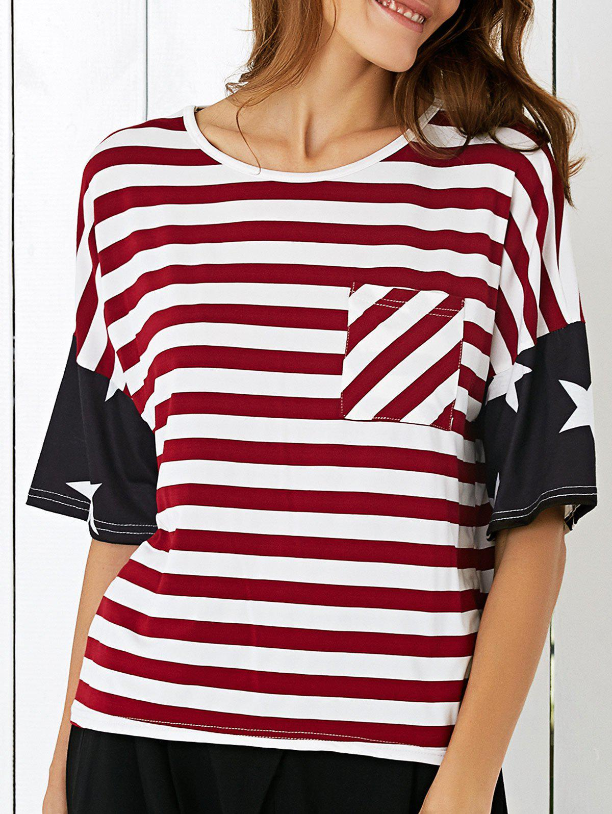 Single Pocket American Flag T-Shirt - BLACK/WHITE/RED XL