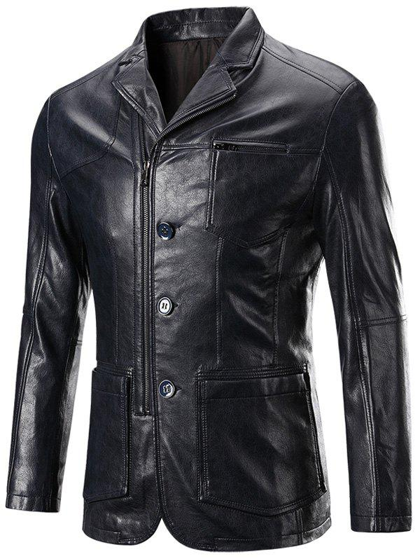 Zippered Button Up Patch Pocket Long Sleeve Men's Faux Leather Jacket