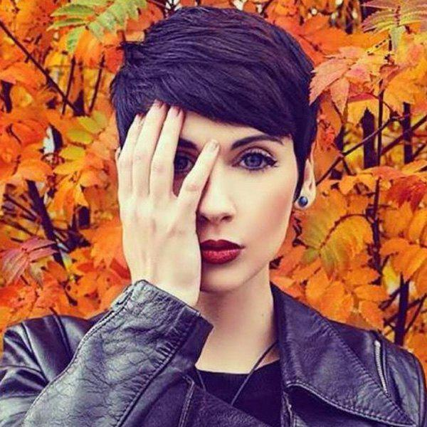 Human Hair Women's Faddish Pixie Cut Short Side Bang - BLACK