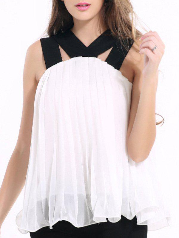 Chic Strappy Pleated Chiffon Tank Top For Women - WHITE 2XL