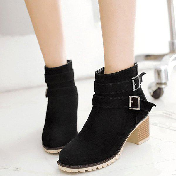 Double Buckles Chunky Heel Suede Ankle Boots - BLACK 37