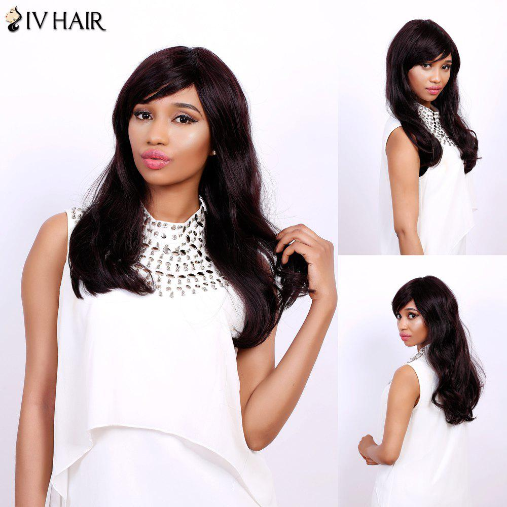 Fluffy Natural Wave Capless Human Hair Charming Long Side Bang Siv Hair Wig For Women - RED MIXED BLACK