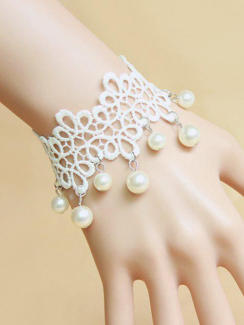 Stylish Faux Pearl White Lace Bracelet - WHITE