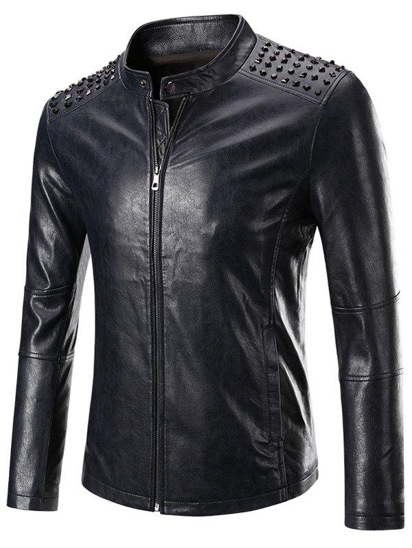 Rivet Embellished Stand Collar Long Zipper Sleeve Men's Faux Leather Jacket - DEEP BLUE 4XL