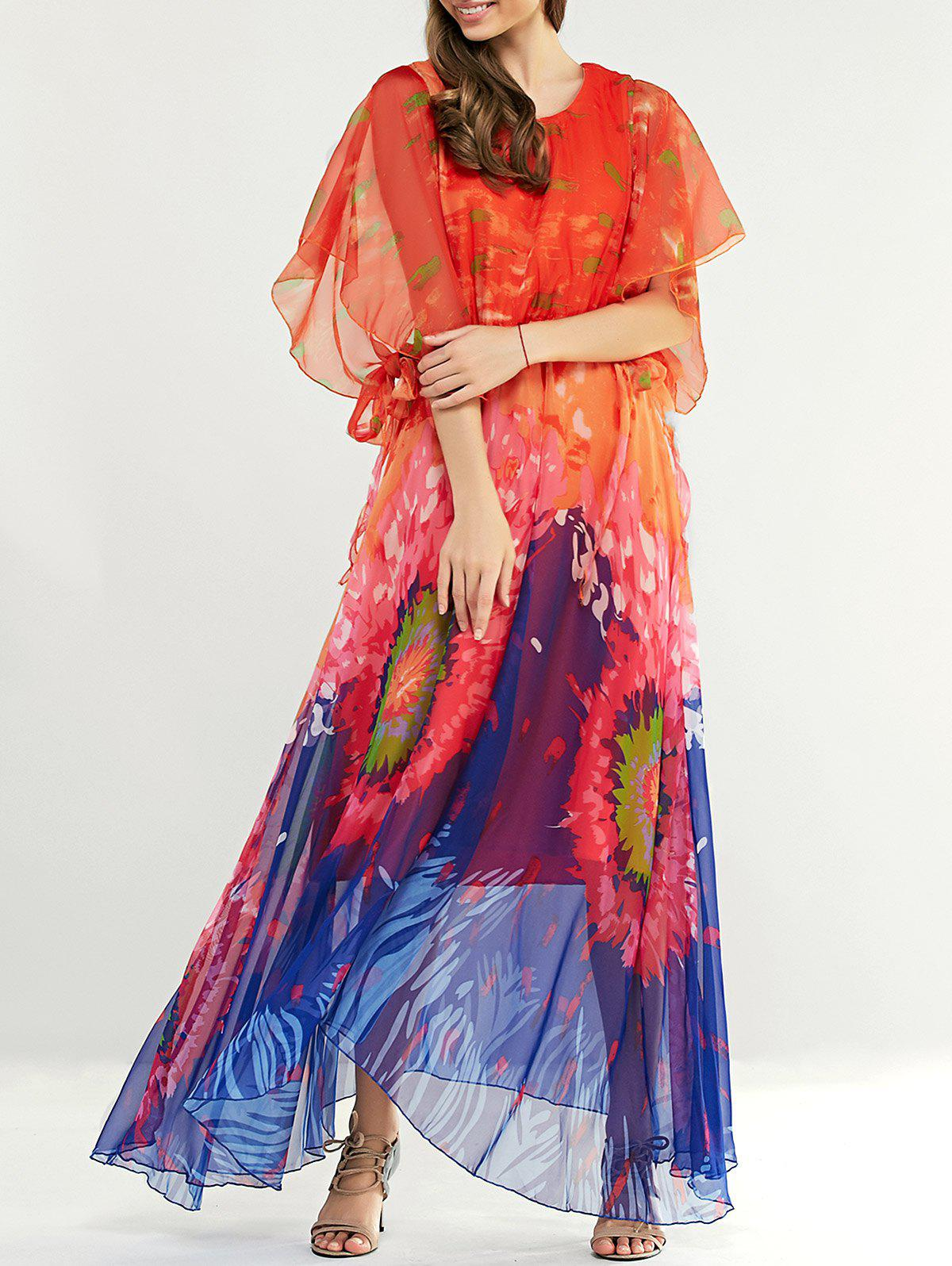Elegant Slik Dolman Sleeve Ruffle Hit Color Print Dress - ORANGE RED ONE SIZE