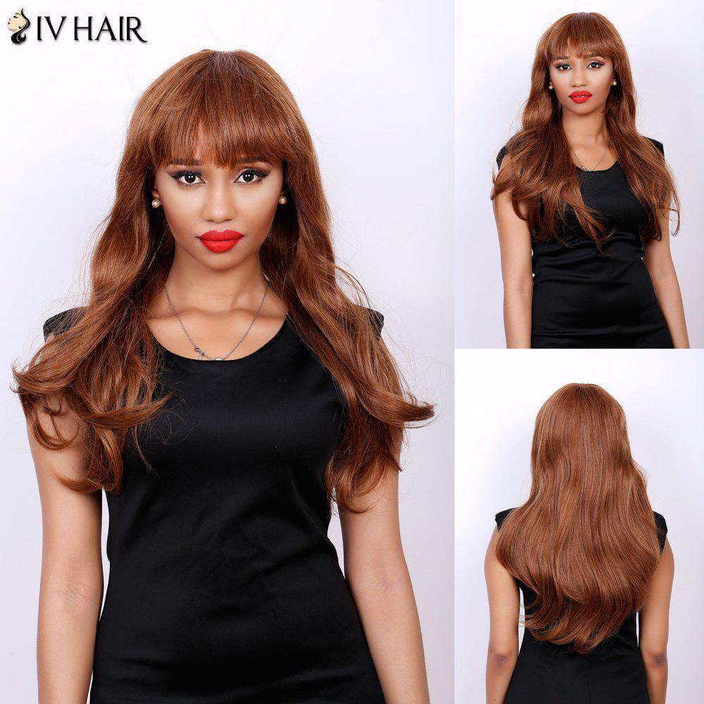 Attractive Full Bang Siv Hair Capless Fluffy Wave Long Women's Real Natural Hair Wig - AUBURN BROWN