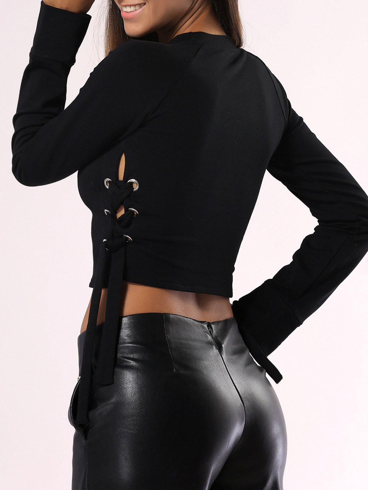 Solid Color Lace-Up Long Sleeve Crop Top - BLACK M