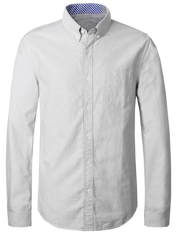 Turn-Down Collar Long Sleeve Man's Button-Down Shirt - OFF WHITE 4XL